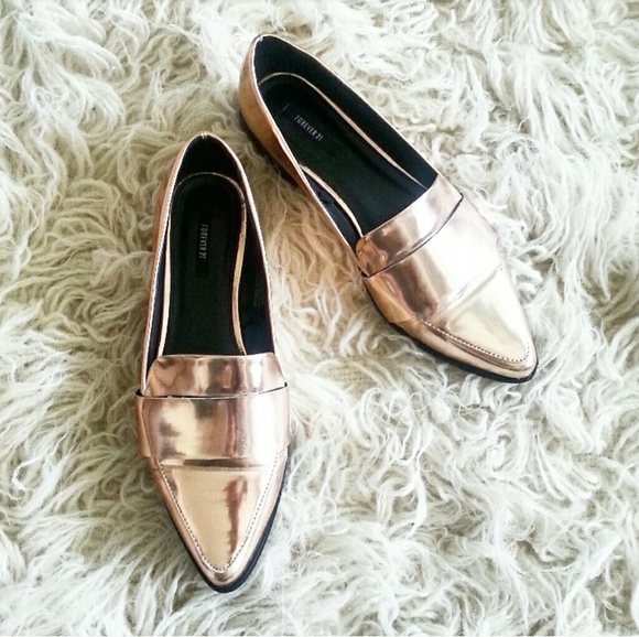 17213961b49 Forever 21 Shoes - ROSE GOLD Metallic Slip On Pointed Toe Loafers